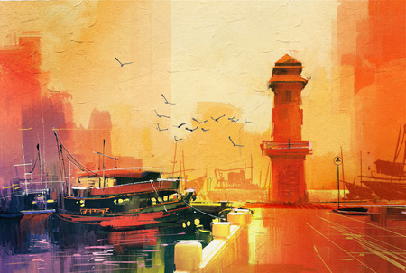 faro y barco de pesca en la puesta del sol, el estilo de la pintura al óleo