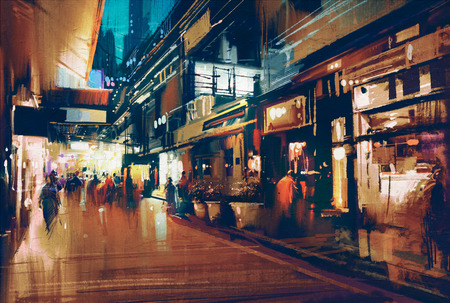 alleys: colorful painting of night street.illustration