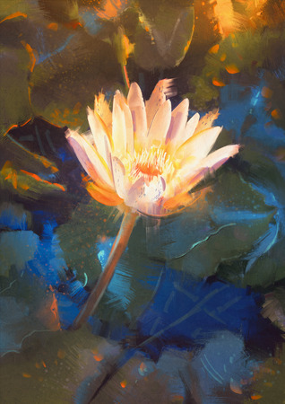 waterlily: painting of beatiful yellow lotus blossom,single waterlily flower blooming on pond