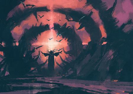 wiedźma: Stary czarodziej rzucając zaklęcia w czarodziejskim legowiska, ilustracja malarstwo