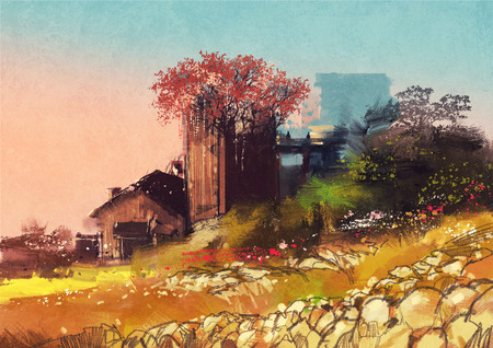 country side: painting showing farm house on the country side Stock Photo