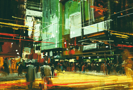 crossing street: cityscape painting,crowds of people at a busy crossing street