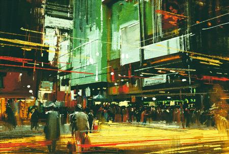 pintura da arquitectura da cidade, uma multidão de pessoas em uma rua do cruzamento movimentado