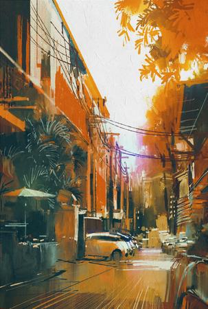 alley: alley autumn city landscape,digital painting
