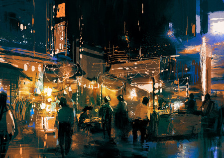 painting of shopping street city with colorful nightlife Stock Photo