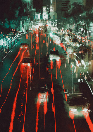 headlights: painting of car headlights and taillights on a city street at night