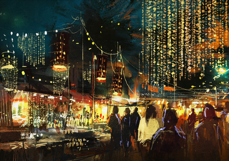 schilderij van winkelstraat stad met kleurrijke nachtleven Stockfoto