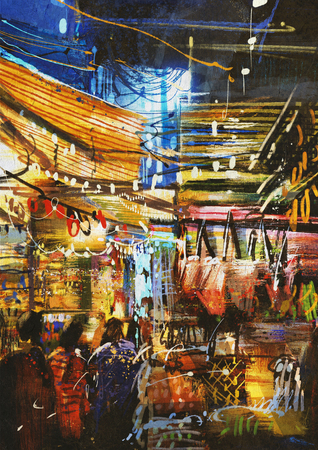 variegated: digital painting showing variegated colors of oriental market Stock Photo