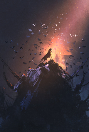 howling wolf on rock with bird flying around,illustration painting Stock Photo