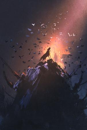 ululato del lupo sulla roccia con uccello che vola intorno, illustrazione pittura