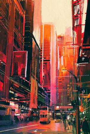 arte moderno: pintura colorida de calle de la ciudad con edificios de oficinas, ilustración