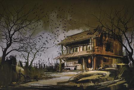 오래 된 목조 버려진 집의 그림, 할로윈 배경 스톡 콘텐츠