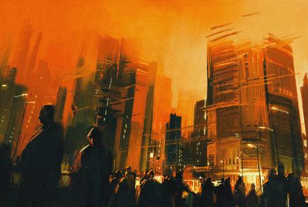 La pintura de las personas en un parque de la ciudad en la noche, ilustración Foto de archivo - 46907288