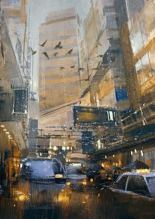 urban colors: la pintura del día lluvioso en el atasco de tráfico de la ciudad en la calle