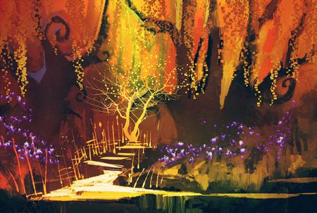 paisagem colorida abstrato, floresta da fantasia, pintura ilustração