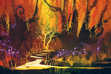 abstract colorful landscape,fantasy forest,illustration painting Stock Photo