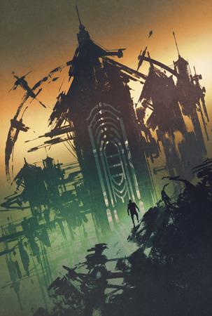 misteriosa torre oscura al crepuscolo, illustrazione pittura