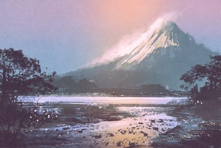 夕方空デジタルの下の山の湖で冬の風景の絵画 写真素材