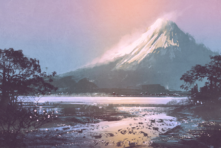 mountain landscape: winter landscape with mountain lake under evening sky,digital painting