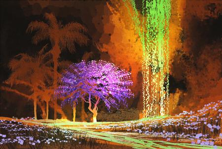 pintura rupestre: paisaje tropical que muestra el árbol de color púrpura en la cueva con cascada, el estilo de pintura digital
