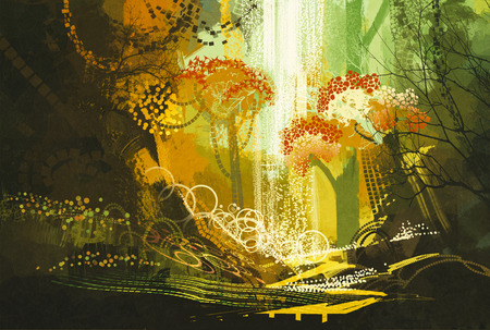 waterfall in forest: abstract autumn forest with waterfall,digital painting Stock Photo