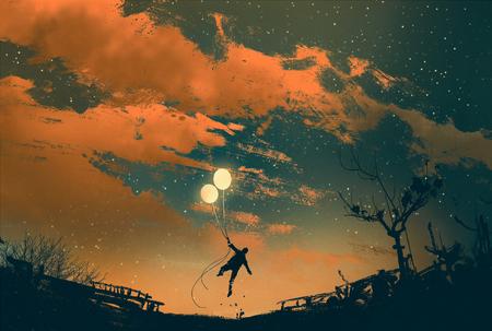 homme volant avec des lumières de ballons au coucher du soleil, illustration peinture