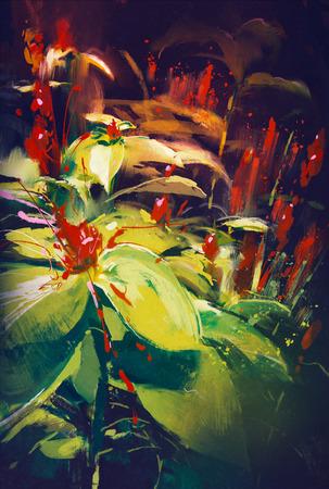 fiori di campo: la pittura di fiori che sbocciano in sfondo scuro