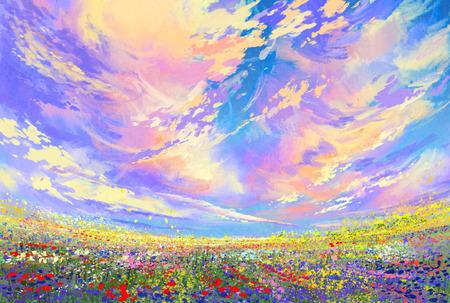paisaje: flores de colores en el campo bajo las nubes hermosas, pintura de paisaje