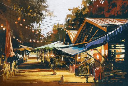 Straße der traditionellen Markt am Abend, Ölgemäldeart Standard-Bild - 47498300