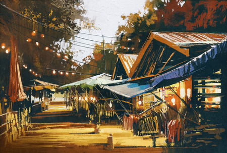 painting style: street of traditional market at evening,oil painting style