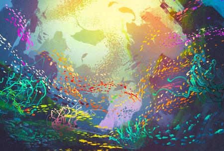 arrecifes: bajo el agua con los arrecifes de coral y peces de colores, ilustración pintura Foto de archivo
