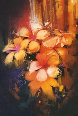 arte abstracto: bellos colores de las flores, estilo de pintura al óleo