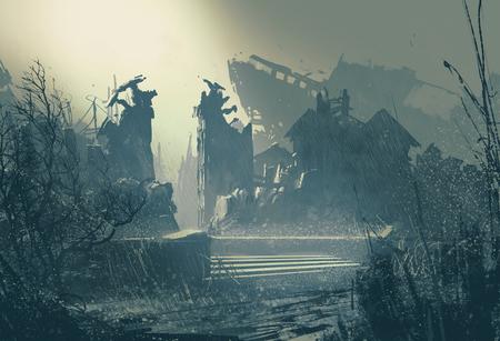 ville abandonnée sous une pluie battante, la peinture de paysage Banque d'images