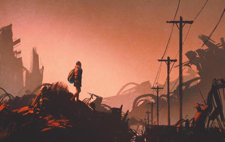donna escursionista guardando città abbandonata, illustrazione pittura