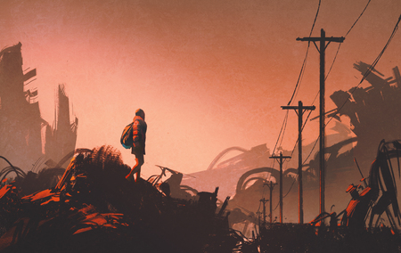 Frau Wanderer Blick auf verlassenen Stadt, Illustration,