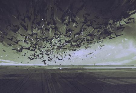 attacco di corvi, uomo fuggendo da stormo di uccelli, illustrazione pittura