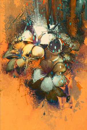 beautiful abstract colorful flowers design,digital painting