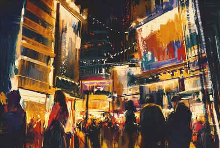 밤 도시의 다채로운, 디지털 페인팅