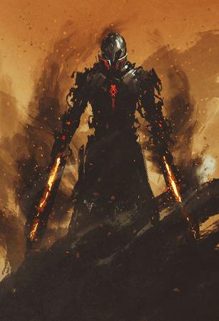 Воин позирует с мечами пламени пожара на огне фоне, иллюстрации картины