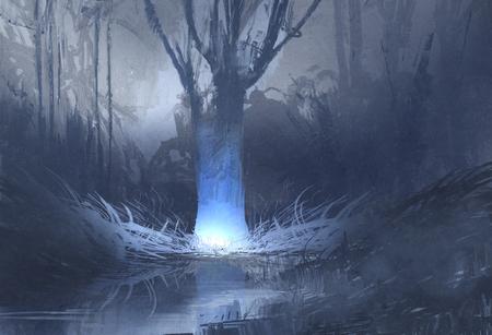 escena nocturna del bosque fantasmagórico con el pantano, pintura ilustración Foto de archivo