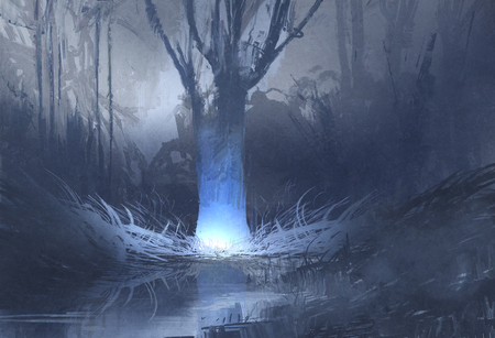 enchanted forest: night scene of spooky forest with swamp,illustration painting Stock Photo