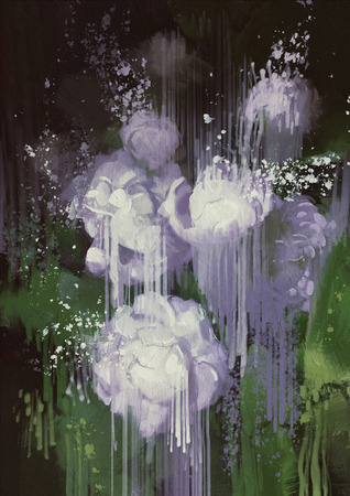 paint dripping: painting showing abstract flowers,paint dripping from white flowers