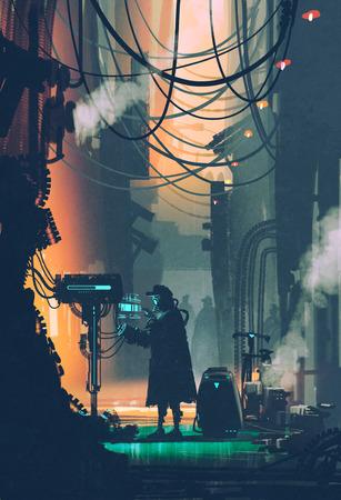 concepto: escena de la ciencia ficci�n del robot que usa el ordenador futurista en la calle de la ciudad, pintura ilustraci�n