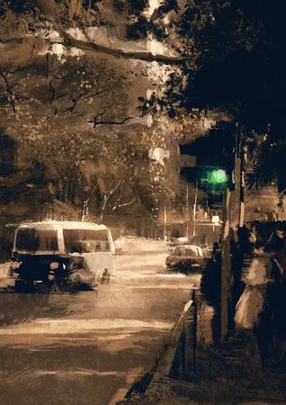 color in: pintura de calle de la ciudad en el color de la vendimia con un acento en el semáforo en verde