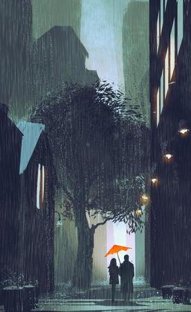 uomo sotto la pioggia: coppia con ombrello rosso a piedi in strada piove di notte, illustrazione pittura