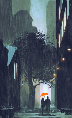 couple in rain: couple with red umbrella walking in raining street at night,illustration painting Stock Photo