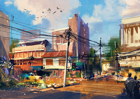 digital painting showing street scene with urban traffic on a beautiful sunny day