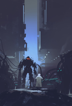 cientista construir robô no fundo antiga fábrica, pintura ilustração Banco de Imagens