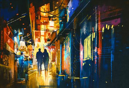 caminando: pareja caminando en el callejón con luces de colores, pintura digital Foto de archivo