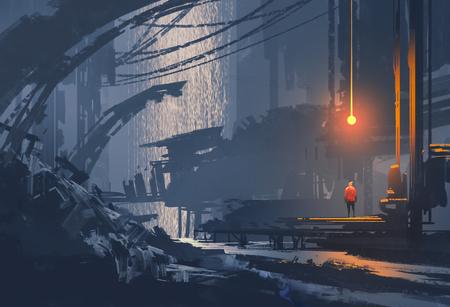 pintura de paisagem da cidade subterrânea, sci-fi llustration